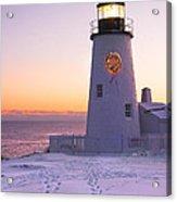Pemaquid Point Lighthouse Christmas Snow Wreath Maine Acrylic Print by Keith Webber Jr