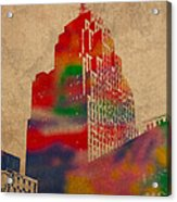 Penobscot Building Iconic Buildings Of Detroit Watercolor On Worn Canvas Series Number 5 Acrylic Print by Design Turnpike