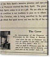 Pentecost By Glenn 1965 Acrylic Print by Glenn Bautista