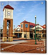 Peoria Illinois Riverfront Businesses And Clock Tower Acrylic Print by Paul Velgos