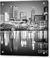 Peoria Illinois Skyline At Night In Black And White Acrylic Print by Paul Velgos
