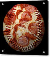 Pepperoni Pizza Baseball Square Acrylic Print by Andee Design
