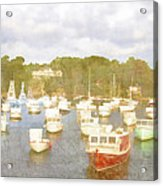 Perkins Cove Lobster Boats Maine Acrylic Print by Carol Leigh