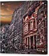 Petra The Treasury Acrylic Print by Dan Yeger