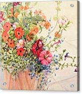 Petunias Lobelias Busy Lizzies And Fuschia In A Terracotta Pot Acrylic Print by Joan Thewsey