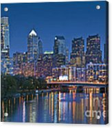 Phila Pa Night Skyline Reflections Center City Schuylkill River Acrylic Print by David Zanzinger