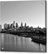 Philadelphia Black And White Acrylic Print by Bill Cannon