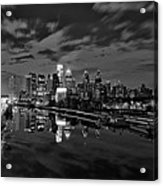Philadelphia From South Street At Night In Black And White Acrylic Print by Bill Cannon