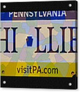 Phillies License Plate Map Acrylic Print by Bill Cannon