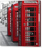 Phone Boxes On The Royal Mile Acrylic Print by Jane Rix