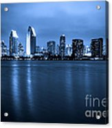 Photo Of San Diego At Night Skyline Buildings Acrylic Print by Paul Velgos