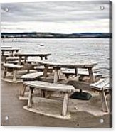 Picnic Tables Acrylic Print by Tom Gowanlock