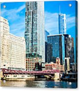 Picture Of Chicago River Skyline At Franklin Bridge Acrylic Print by Paul Velgos