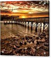Pier At Smith Mountain Lake Acrylic Print by Joshua Minso