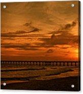 Pier At Sunset Acrylic Print by Sandy Keeton