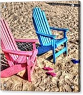 Pink And Blue Beach Chairs With Matching Flip Flops Acrylic Print by Michael Thomas