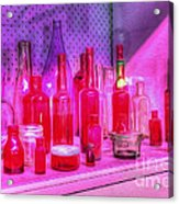 Pink And Red Bottles Acrylic Print by Kaye Menner