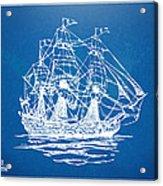 Pirate Ship Blueprint Artwork Acrylic Print by Nikki Marie Smith