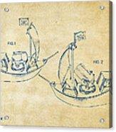 Pirate Ship Patent Artwork - Vintage Acrylic Print by Nikki Marie Smith