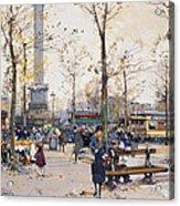 Place De La Bastille Paris Acrylic Print by Eugene Galien-Laloue