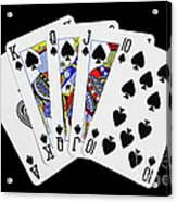 Playing Cards Royal Flush On Black Background Acrylic Print by Natalie Kinnear