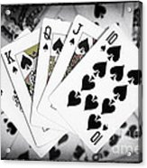 Playing Cards Royal Flush With Digital Border And Effects Acrylic Print by Natalie Kinnear