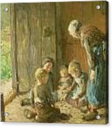 Playing Jacks On The Doorstep Acrylic Print by Bernardus Johannes Blommers