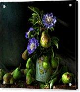 Poires Et Fleurs Acrylic Print by Theresa Tahara