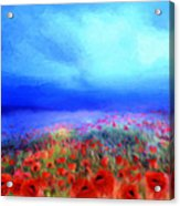 Poppies In The Mist Acrylic Print by Valerie Anne Kelly
