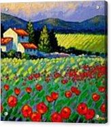 Poppy Field - Provence Acrylic Print by John  Nolan
