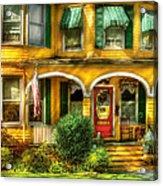 Porch - Cranford Nj - A Yellow Classic  Acrylic Print by Mike Savad
