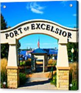Port Of Excelsior Acrylic Print by Perry Webster