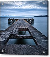 Portencross Pier  And Views To Arran Acrylic Print by John Farnan
