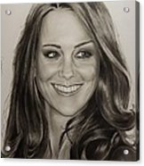 Portrait Kate Middleton Acrylic Print by Natalya Aliyeva