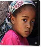 Portrait Of A Berber Girl Acrylic Print by Ralph A  Ledergerber-Photography