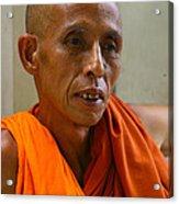 Portrait Of A Buddhist Monk Yangon Myanmar Acrylic Print by Ralph A  Ledergerber-Photography