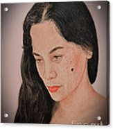 Portrait Of A Long Haired Filipina Beautfy With A Mole On Her Cheek Fade To Black Version Acrylic Print by Jim Fitzpatrick