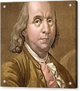 Portrait Of Benjamin Franklin , From Le Acrylic Print by Gallo Gallina