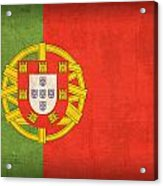 Portugal Flag Vintage Distressed Finish Acrylic Print by Design Turnpike
