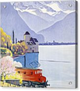 Poster Advertising Rail Travel Around Lake Geneva Acrylic Print by Emil Cardinaux