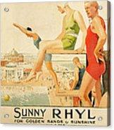 Poster Advertising Sunny Rhyl  Acrylic Print by Septimus Edwin Scott