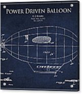 Power Driven Balloon Patent Acrylic Print by Aged Pixel