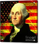 President George Washington V2 Square Acrylic Print by Wingsdomain Art and Photography