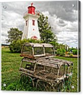 Prince Edward Island Lighthouse With Lobster Traps Acrylic Print by Edward Fielding