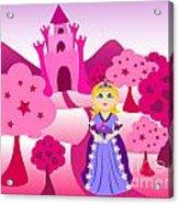 Princess And Pink Castle Landscape Acrylic Print by Sylvie Bouchard
