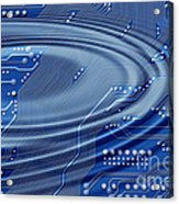 Printed Circuit With Waves Acrylic Print by Michal Boubin