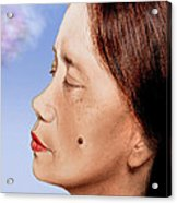 Profile Of A Filipina Beauty With A Mole On Her Cheek Altered Version Acrylic Print by Jim Fitzpatrick