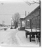 Prosser Winter Train Station  Acrylic Print by Carol Groenen