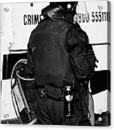 Psni Officer With Riot Gear On Crumlin Road At Ardoyne Shops Belfast 12th July Acrylic Print by Joe Fox