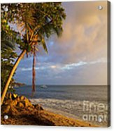 Puerto Rico Palm Lined Beach With Boat At Sunset Acrylic Print by Jo Ann Tomaselli